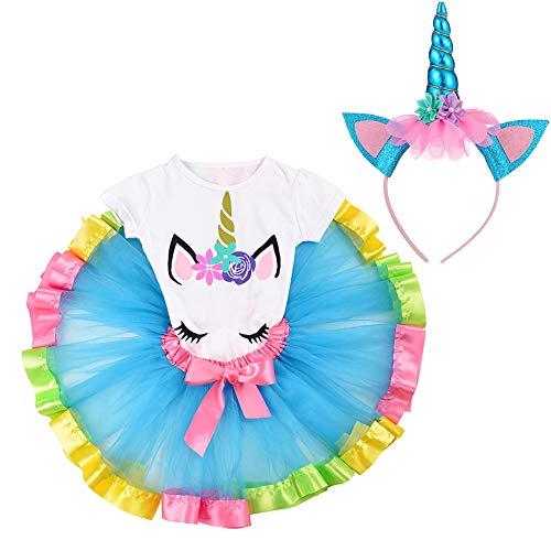 LYLKD Little Girls Unicorn Outfit Dress,Layered Rainbow Tutu Skirt,Unicorn T-Shirt and Unicorn Horn Headband. (Lake Blue, L,5-7 Years)]()