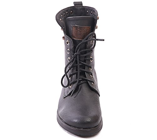 5 M1150 COMBAT BOOTS BLOCK SIZE 8 LADIES Black HEEL UP 3 GOTH NEW BIKER 6 7 4 LACE PUNK ANKLE WOMENS BranwBq1