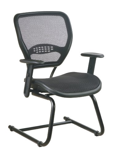 (SPACE Seating AirGrid Back and Seat, Adjustable Arms and Lumbar Support, Sled Base Visitors Chair, Dark Grey )