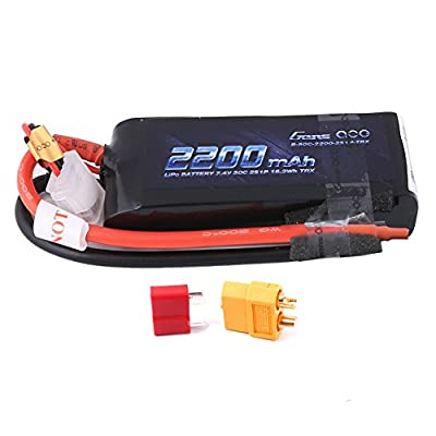 Gens ace 2200mAh 7.4V 2S 50C LiPo Battery Pack with Deans and XT60 Plug for ompatible with Rc Traxxas 1/16 E-Revo VXL Summit Slash Losi 1/14 Mini 8ight and Rc Cars