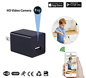 USB Charger Hidden Camera Camera featuring WiFi Live Feed, Motion Detection, Supports up to 32GB Memory Card, Loop Recording, Nanny Spy Surveillance Camera