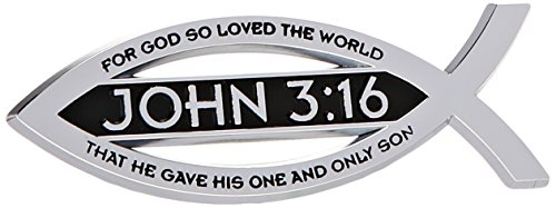 "John 3:16 For God So Loved The World Christian Fish Text Emblem Premium Chrome Plated Metal Religous Car Truck Motorcycle Emblem ""Lord God Jesus Christ Religion Ichthus"" Symbol"