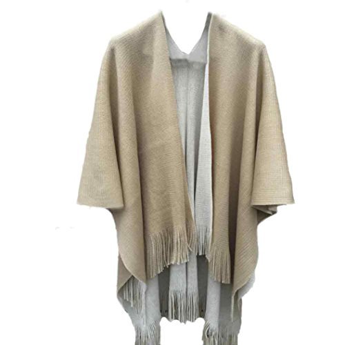 Sweater Cashmere Beige (KESEE Clearance Coat ☀ Women Cashmere Knitted Cardigan Sweater Poncho Capes Shawl Vintage Cape Solid Sweater (One Size, Beige))
