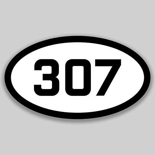 DHDM 307 Area Code Sticker Wyoming Cheyenne Casper Gillette City Pride Love | 5-Inches by 3-Inches | Premium Quality Vinyl UV Resistant Laminate PD2363