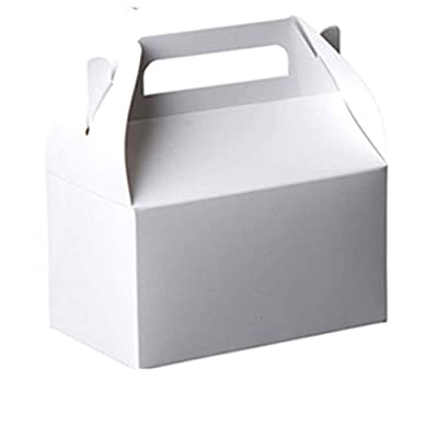 """Party Favors Paper Treat Boxes - White Colored Paper Containers & Boxes Treat Container Cookie Boxes Cute Designs Perfect for Parties and Celebrations 6.25"""" x 3.75"""" x 3.5"""" (10 Pack): Toys & Games"""