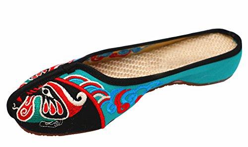 Icegrey Femmes Pantoufle Fait Main Broderie Ethnique Opera Visage Chaussures Plat Slipper Noir 40