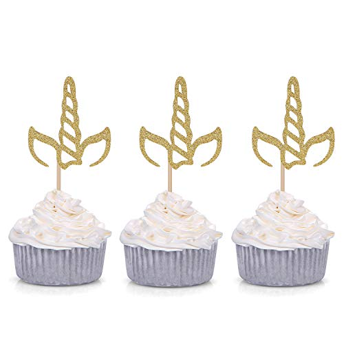 Giuffi Set of 24 Golden Glitter Unicorn Horn Theme Cupcake Toppers Kid's Party Baby Shower Decors
