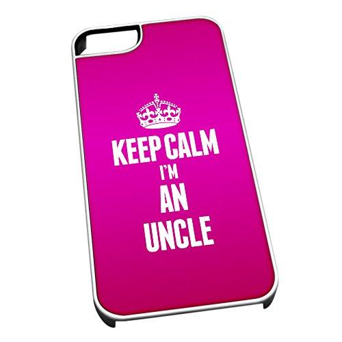 Bianco cover per iPhone 5/5S 2702rosa Keep Calm I m An zio