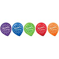 Amscan Rainbow Bright Birthday Party Printed Latex Balloons Decoration (Pack of 15), Multicolor, 12""