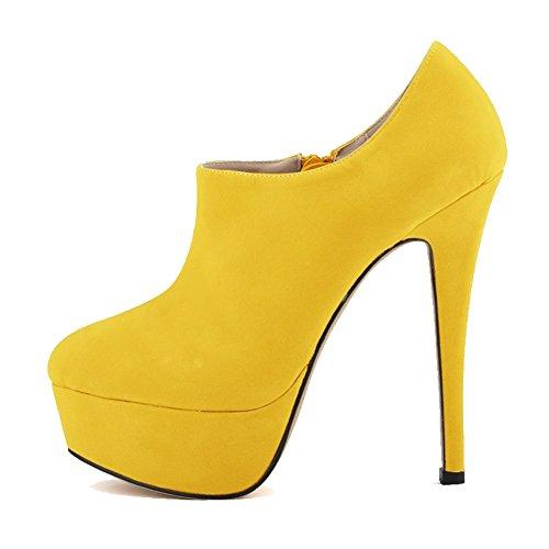 Yellow Aisun Frosted Boots Toe Platform Round Women's Zipper Stylish Side High Stilettos qqw6BZPUT