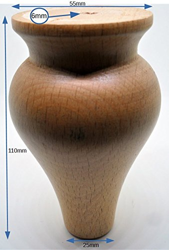Juego de 4 patas de madera de pino Victorian muebles pies ...