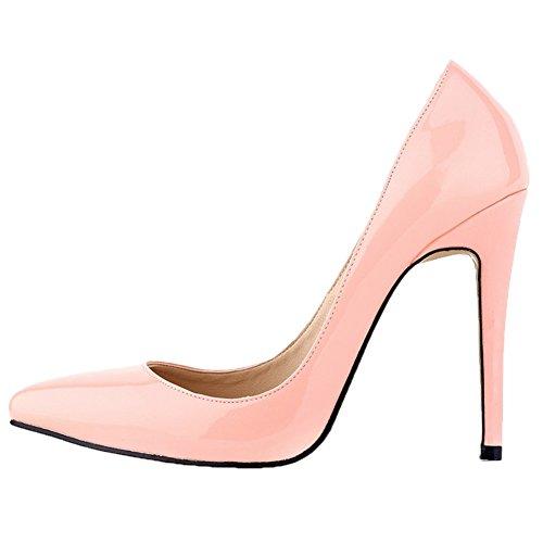HooH Damen High Heel Spitze Zehe Stiletto Hochzeit Pumps Slip On Pink