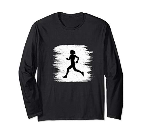 (Vintage Track And Field Runner Girl Sprinter Running Long Sleeve T-Shirt)