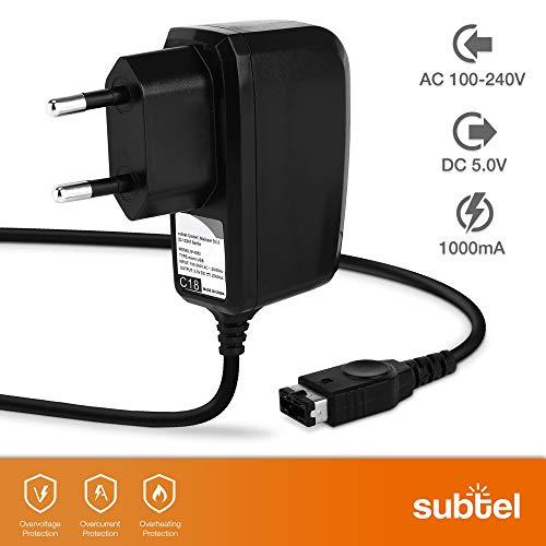 subtel® Cargador - 1.4m (1A / 1000mA) Compatible con Nintendo DS, Game Boy Advance SP (5V / Nintendo System Connector) Cable de Carga Negro
