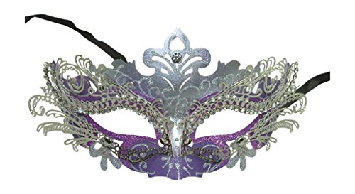 Plus Half Mask (Masquerade Laser-cut Purple/Silver Venetian Mask)