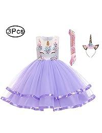 LZH Girl Unicorn Dress Birthday Christmas Party Cosplay Hairband Sash Dresses