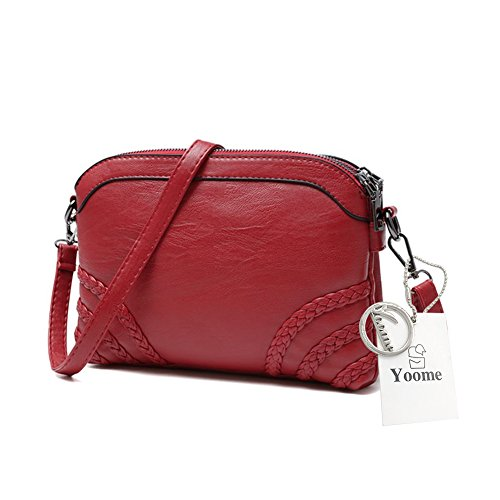 Yoome Diagonal Stripe Retro de color puro de gran capacidad bolsos de cuero suave bolsos para las mujeres - Rosa rojo