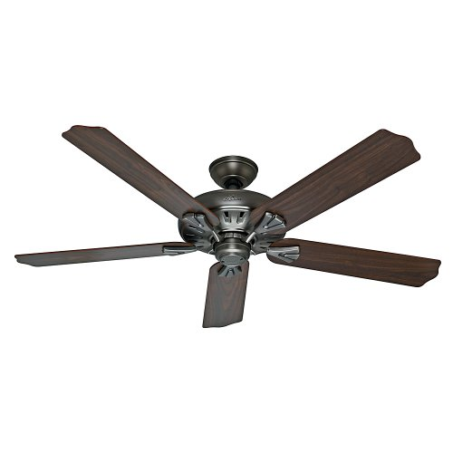 Hunter 54017 The Royal Oak 60-Inch Antique Pewter Ceiling Fan with Five Walnut/Chestnut Blades ()