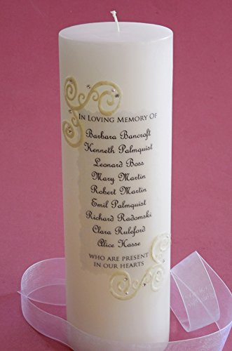 French Lace 9 Name Personalized 3x9 Memorial Candle