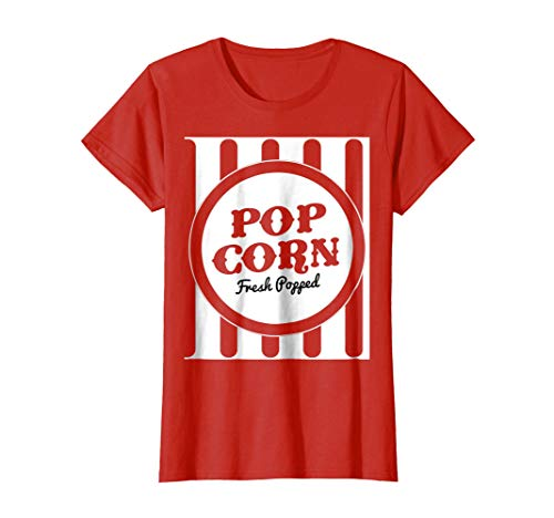 Womens Old Fashion Popcorn Costume T-Shirt Halloween Trick Or Treat XL Red ()