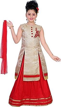 f12d67672 Saarah Girls  Silk Cotton Blend Lehenga Choli and Dupatta Set (Gold 9-10  Years