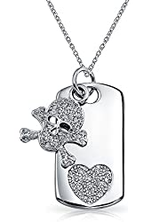 Bling Jewelry Rhodium Plated CZ Skull and Crossbones Dog Tag Pendant 18in