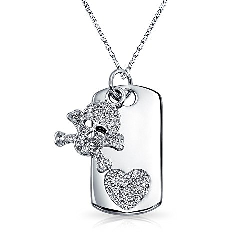 Bling Jewelry Skull Heart and Crossbones Caribbean Pirate Pave CZ Dog Tag Pendant Necklace for Women for Teen Silver Plated Brass