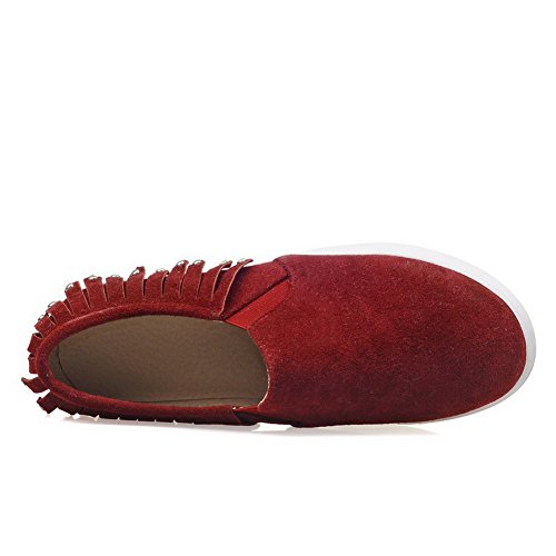 Allhqfashion Mujeres Frosted Solid Low-heels Cerrado-toe Pull-on Bombas-zapatos Claret