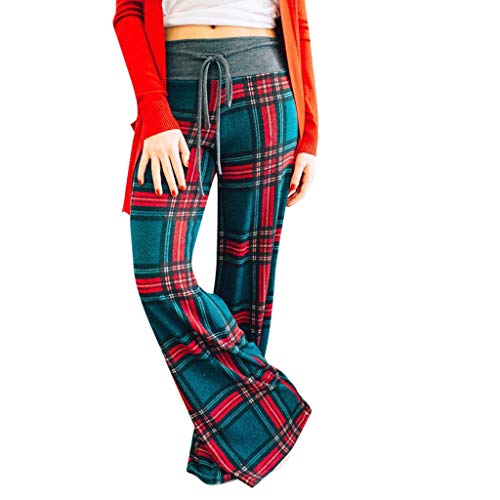Pants for Womens, FORUU Clover Ladies Sales 2019 Under 10 Best Gift for Girlfriend Fashion Plaid Floral Trousers Ladies Autumn Casual Wide Legs Yoga]()