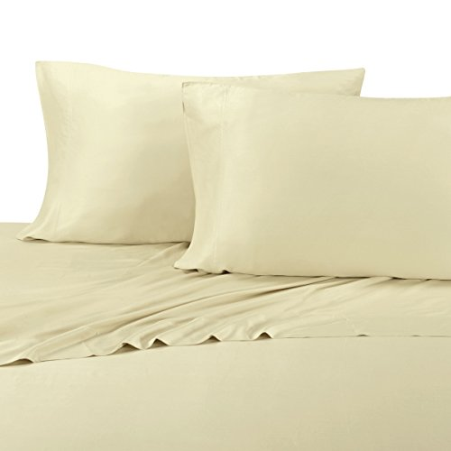 Silky & soft Bamboo-Cotton Blend sheet set, 60% Premium Viscose from Bamboo & 40% Luxury long staple Cotton, Sateen Weave, Hypo-Allergenic, Sand, 3 Piece Twin Extra Long Deep Pocket Sheet Set