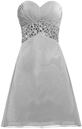 Chiffon Women's ANTS Cocktail Dress Silver Prom Short Strapless Crystal Dress PdxYdq
