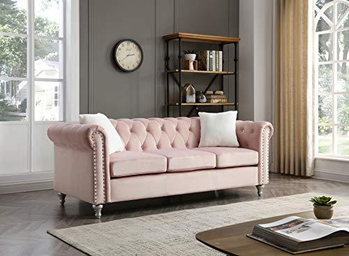 "Glory Furniture Raisa , Pink Sofa, 30"" H X 83"" W X 34"" D"