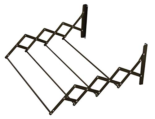 Retractable Folding Clothes Towel Rack Dryer Wall Mountable 4 Rod Expandable Hangers Air Drying Small Space -
