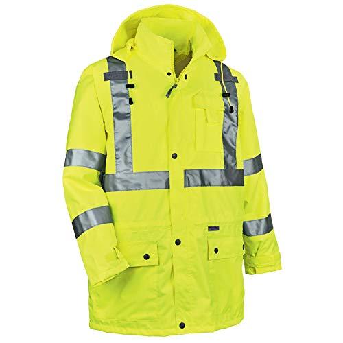 (Ergodyne GloWear 8365 ANSI High Visibility Lime Reflective Rain Jacket, Medium)