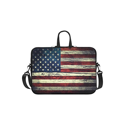 InterestPrint Vintage American Flag Laptop Sleeve Case Bag, Memorial Day USA Flag Shoulder Strap Laptop Sleeve Notebook Computer Bag 13.3 Inch for Macbook Pro Air HP Dell