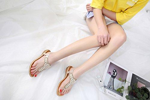 Or de Rhinestone de pour de Chaussures Femmes Dames Ruiren D'été des Bascule de Sandales Plates Plage nzx41tqZI
