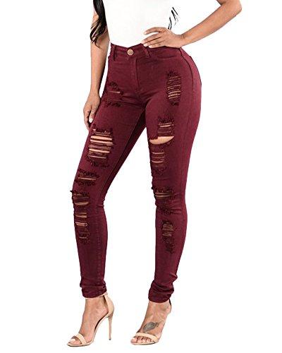 Vin pour Dlav Femme Jeans ZongSen Soldes Extensible Slim Taille Pantalon Haute Rouge q4WpXvx
