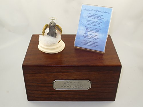 Beautiful Paulownia Medium Wooden Urn with Weimaraner Stairway to Heaven Figurine with Poem & Personalized Pewter Engraving