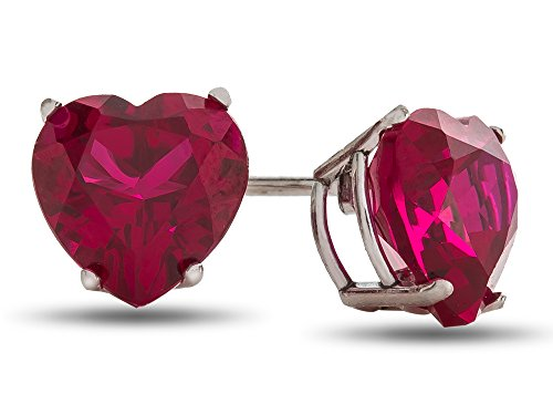 (Finejewelers 6x6mm Heart Shaped Created Ruby Post-With-Friction-Back Stud Earrings Sterling Silver )