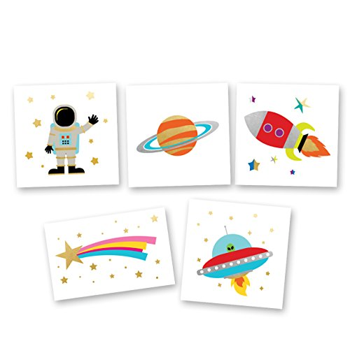 Space Explorer Variety Set includes 25 assorted premium waterproof colorful metallic kids temporary foil Fun Tats by Flash Tattoos, party favor]()