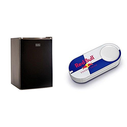 Price comparison product image BLACK+DECKER BCRK25B Refrigerator Single Door Mini Fridge with Freezer,  2.5 Cubic Ft,  Black & Red Bull Dash Button
