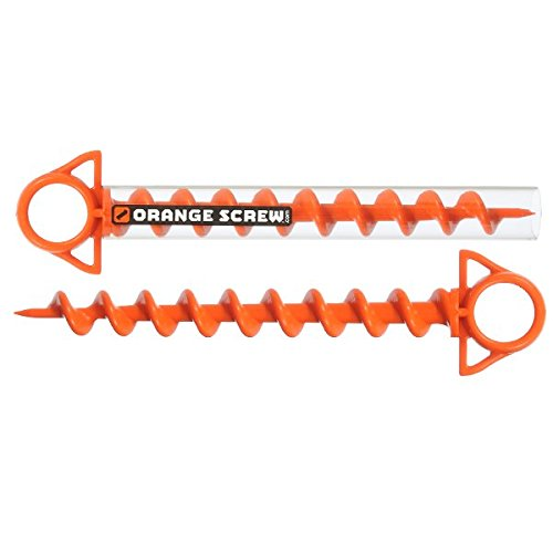 Orange Screw: The Ultimate Ground Anchor | Large 2 Pack | Made in The - Stake Beach