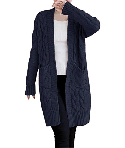 NUTEXROL Women's Open Front Long Sleeve Knit Think Cardigan Chunky Sweater Navy - Womens Knit Ribbed Cardigan