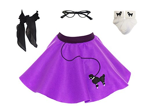 Hip Hop 50s Shop Toddler 4 Piece Poodle Skirt Costume Set Purple