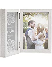 Afuly Double Picture Frame 5x7 Vertical Hinged Photo Frames Wooden Shadow Box 2 Opening for Desk Top Display