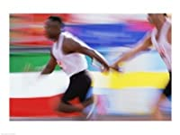 Seitenansicht von zwei jungen Männern vorbei einen Staffelstab Kunstdruck...
