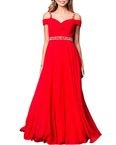 Aofur New Lace Chiffon Formal Evening Bridesmaid Dresses Party Ball Prom Gown Dress (X-Large, Red)