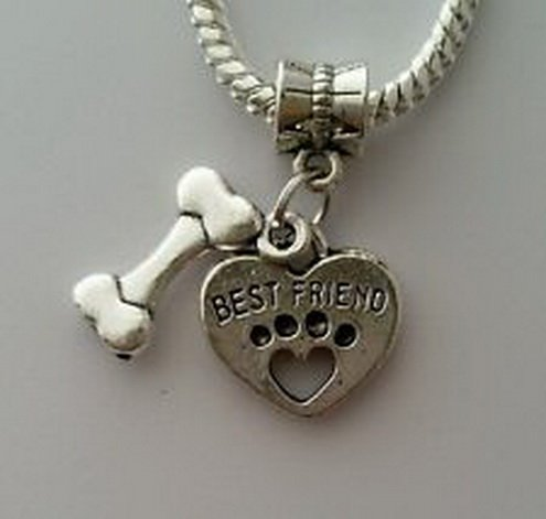 [Dan Smatree The Beads Pet Best friend Dog Heart Print Bone Dangle Bead Fits European Style Bracelet] (Best 50s Costumes)