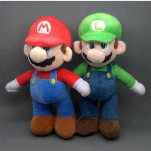 [2 Pcs/Set New Super Mario Bros. Stand LUIGI & MARIO Plush Doll Stuffed Toy 9.8