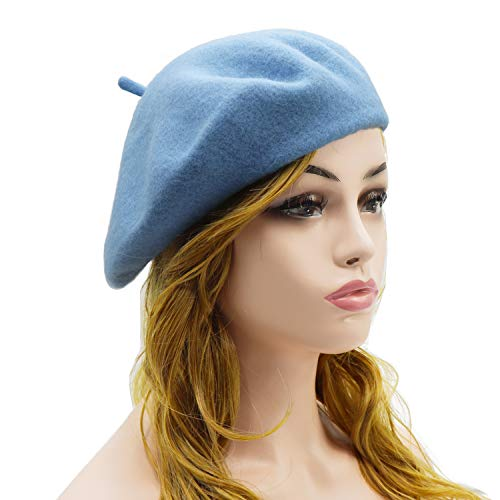 Wheebo Wool Beret Hat,Solid Color French Style Winter Warm Cap for Women Girls (Azure) -